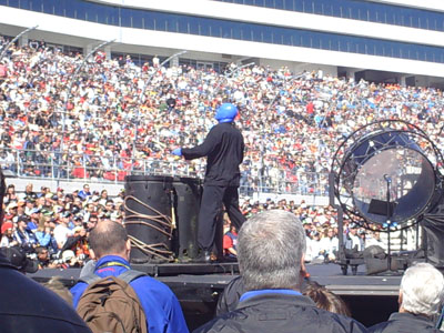 The Blue Man Group perform before the start of the UAW-Dodge 400 in Las Vegas (Photo Credit: The Fast and the Fabulous/Valli Hilaire)