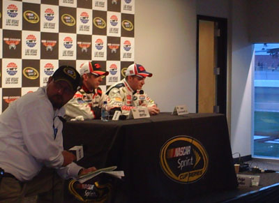 Greg Biffle and Dale Earnhardt Jr. answer questions from the media after the UAW-Dodge 400 in Las Vegas on Sunday, March 2, 2008 (photo credit: The Fast and the Fabulous/Valli Hilaire)