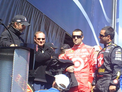 A group of drivers hang out before they are introduced at the UAW-Dodge 400 in Las Vegas