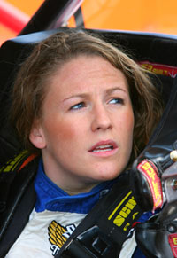 Chrissy Wallace, daughter of Mike, prepares to practice for the Kroger 250 at Martinsville Speedway. Wallace is expected to make her NASCAR national series debut on Saturday. (Photo Credit: John Harrelson/Getty Images for NASCAR)