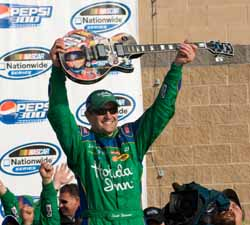 Scott Wimmer celebrates winning the Pepsi 300 at the Nashville Superspeedway. (Photo Credit: Padraic Major/NASCAR)