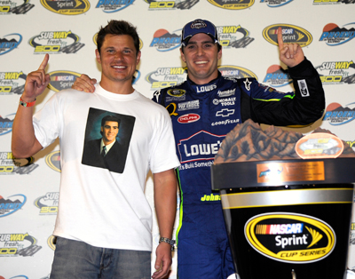Jimmie Johnson and Nick Lachey celebrate in victory lane at the Subway Fresh Fit 500 in Phoenix in April. (photo credit:Dorsey Patrick Photography, 2008)