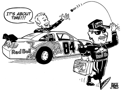Talladega Cartoon by Buck Jones (courtesy of Red Bull Racing)