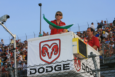 The winner of the Wave the Green Flag contest, Betty Easley, received an all-expense-paid travel package to the Dodge Challenger 500 NASCAR Sprint Cup race at Darlington Raceway over Mothers Day weekend (Photo Credit: Jerry Markland/Getty Images for NASCAR)