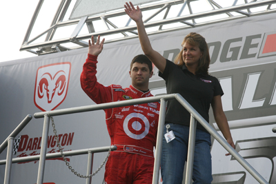Reed and mother Becky Sorenson salute the crowd before the Dodge Challenger 500 at Darlington Raceway (Photo Credit: Jerry Markland/Getty Images for NASCAR)