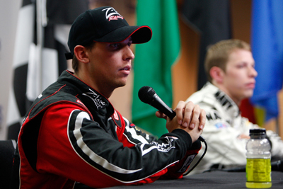 Denny Hamlin, driver of the #20 Z-Line Designs Toyota (L), and Brad Keselowski, driver of the #88 NAVY Chevrolet, speak to the media in a press conference following the NASCAR Nationwide Series CARQUEST Auto Parts 300 on May 24, 2008 at Lowe's Motor Speedway in Concord, North Carolina. (Photo by Chris Graythen/Getty Images)