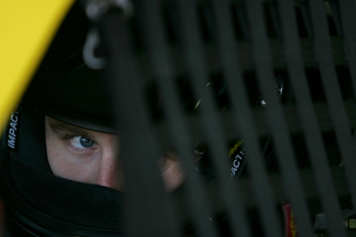 Travis Kvapil, driver of the #28 Lumber Liquidators Ford, sits in his car during qualifying for the NASCAR Sprint Cup Series Coca-Cola 600 on May 22, 2008 at Lowe's Motor Speedway in Concord, North Carolina. (Photo by Todd Warshaw/Getty Images for NASCAR)