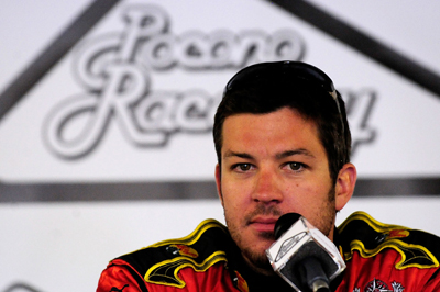 Martin Truex Jr. meets the media during NASCAR Sprint Cup Series testing at Pocono Raceway on Wednesday (Photo Credit: Rusty Jarrett/Getty Images for NASCAR)