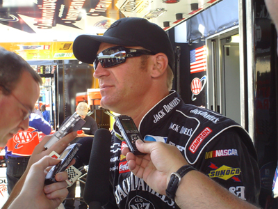 Clint Bowyer speaks with the media at Infineon Raceway (photo credit: The Fast and the Fabulous)