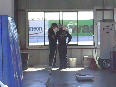 David Gilliland talks with a crew member during the testing session at Infineon Raceway (Photo Credit: The Fast and the Fabulous)