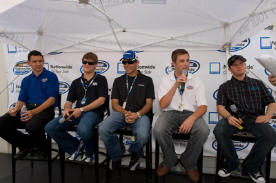(L to R) NASCAR Nationwide Series drivers Brad Coleman, Landon Cassill, Bryan Clauson, Eric McClure and Jason Leffler talk with 2,700 Nationwide associates prior to the Meijer 300 at Kentucky Speedway. Nationwide is headquartered in Columbus, Ohio. (Photo Credit: Padraic Major for NASCAR)