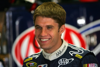 David Ragan is all smiles Saturday after posting the third-quickest time in the morning practice session. (Photo Credit: Chris Trotman/Getty Images for NASCAR)