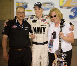 Brad Keselowski shares his first career trip to Victory Lane with his father, Bob, and mother, Kay, Saturday night at Nashville. (Photo Credit: Padraic Major for NASCAR)