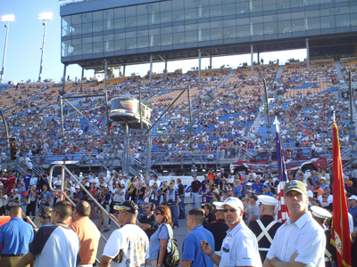 The grandstands and the track before the start of the Dollar General 300 at Chicagoland Speedway on Friday, July 11, 2008 (photo credit: The Fast and the Fabulous)