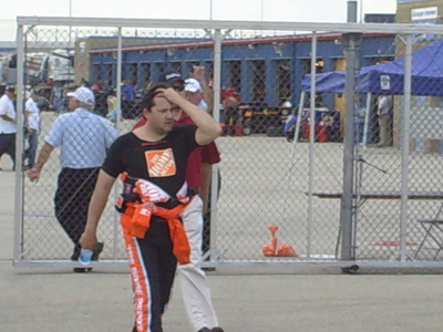 Tony Stewart heads into the drivers meeting before the Dollar General 300 at Chicagoland Speedway on Friday, July 11, 2008 (photo credit: The Fast and the Fabulous)