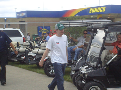 Dale Earnhardt Jr. walks to the drivers meeting at Chicagoland Speedway on Saturday July 12, 2008. (photo credit: The Fast and the Fabulous)