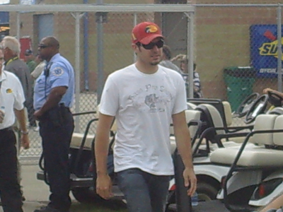 Martin Truex Jr. walks to the drivers meeting at Chicagoland Speedway on Saturday July 12, 2008. (photo credit: The Fast and the Fabulous)