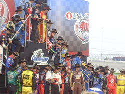 NASCAR Sprint Cup drivers pay tribute to Richard Petty and his 50 years in NASCAR at Chicagoland Speedway on Saturday, July 12, 2008 (photo credit: The Fast and the Fabulous)