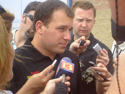 Ryan Newman answers questions outside the media center at Chicagoland Speedway on Saturday, July 12, 2008 (photo credit: The Fast and the Fabulous)