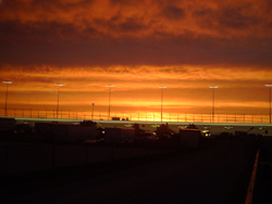 The sun sets over Chicagoland Speedway on Saturday, July 12, 2008 (photo credit: The Fast and the Fabulous)