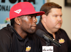Randy Moss and David Dollar address the media Thursday to announce formation of Randy Moss Motorsports. (Photo Credit: John Harrelson/Getty Images for NASCAR)