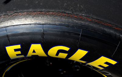 A view of a Goodyear tire with excessive wear after a competition caution during the NASCAR Sprint Cup Series Allstate 400 at the Brickyard at Indianapolis Motor Speedway on July 27, 2008 in Indianapolis, Indiana. (Photo by Rusty Jarrett/Getty Images for NASCAR)