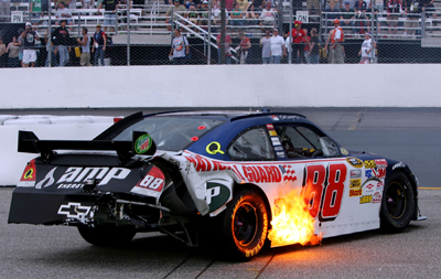 <br /> The sixth caution came out on lap 273 when Dale Earnhardt Jr. got into an incident wit Jamie McMurray near the entrance to pit road. (Photo Credit: Jim McIsaac/Getty Images)