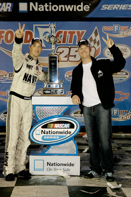 Brad Keselowski and Dale Earnhardt Jr. celebrate winning the Food City 250 at Bristol Motor Speedway, their second victory of the season. (Photo Credit: John Harrelson/Getty Images for NASCAR)