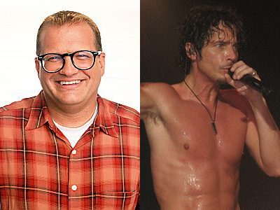 Drew Carey (left) and Chris Cornell (right)