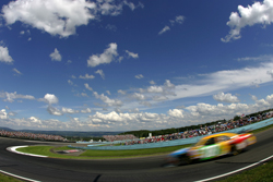 Kyle Busch, driver of the #18 M&M's Toyota, drives during the NASCAR Sprint Cup Series Centurion Boats at the Glen at the Watkins Glen International on August 10, 2008 in Watkins Glen, NY. (Photo by Todd Warshaw/Getty Images for NASCAR)