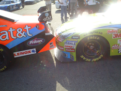 Carl Edwards' No. 99 gets up close and personal with Jeff Burton's No. 31 at the Auto Club Speedway on Saturday, August 30, 2008 (photo credit: The Fast and the Fabulous)