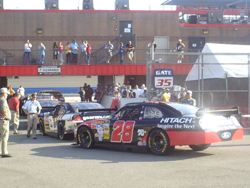 Cars lined up for Cup Series practice on Saturday, August 30, 2008 at Auto Club Speedway in Fontana, Calif. (photo credit: The Fast and the Fabulous)