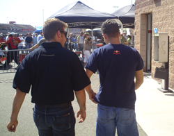 Jamie McMurray (left) and AJ Allmendinger (right) talk after leaving the drivers meeting for the Pepsi 500 at the Auto Club Speedway in Fontana, Calif. on Sunday, August 31, 2008 (photo credit: The Fast and the Fabulous)