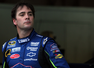 Jimmie Johnson takes a break during Friday's practice for Sunday's Sylvania 300 at New Hampshire Motor Speedway. Johnson was second-fastest in practice. (Photo Credit: Elsa/Getty Images)
