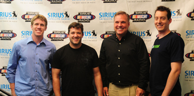 Carl Edwards and Kyle Busch talk NASCAR with Tony Stewart and Matt Yocum on the Tony Stewart Live show at the Sirius XM studios in New York City (photo credit: Ronnie Peters of 4 Corners)