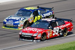 Carl Edwards, driver of the No. 99 Office Depot Ford, battled throughout the race with Jimmie Johnson, driver of the No. 48 Lowe's Chevrolet for the lead. Both wanted a win -- Johnson for his first at Kansas Speedway, Edwards for his hometown crowd. (Photo Credit: John Harrelson/Getty Images for NASCAR)