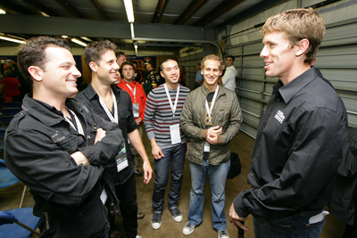 Atlantic Records recording artists OAR meet Carl Edwards after the NASCAR Sprint Cup Series Drivers' Meeting at New Hampshire Motor Speedway on Sunday. (Photo Credit: Chris Trotman/Getty Images for NASCAR)