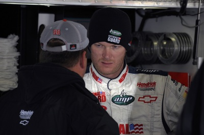 Dale Earnhardt Jr., driver of the No. 88 National Guard/AMP Energy Chevrolet, talks with crew chief Tony Eury Jr. prior to the NASCAR Sprint Cup Series event at Atlanta Motor Speedway. (Courtesy Hendrick Motorsports)
