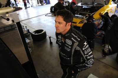 Driver David Stremme checks out times during Friday's practice at Memphis. (Photo Credit: Dak Dillon for NASCAR)