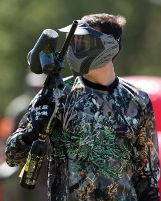 NASCAR Sprint Cup Series star Kyle Busch takes a break during paintball warfare for a Texas Motor Speedway media event Tuesday, Sept. 30, at Fun On The Run Paintball Park in Fort Worth, Texas. (Photo By Tom Pennington/Getty Images for the Texas Motor Speedway)