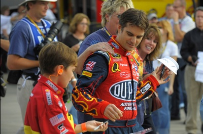 Jeff Gordon, driver of the No. 24 DuPont Chevrolet, started Saturday's NASCAR Sprint Cup event at Lowe's Motor Speedway in eighth and finished eighth. (Courtesy Hendrick Motorsports)