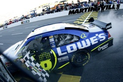 Jimmie Johnson, driver of the No. 48 Lowe's Chevrolet, started from the pole position and went on to win the 500-mile event at Martinsville (Va.) Speedway on Sunday. Johnson led 339 laps. (Courtesy Hendrick Motorsports)