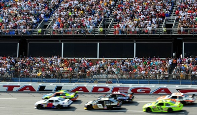 Pole-sitter Travis Kvapil (No. 28) leads the field at the start of the NASCAR Sprint Cup Series AMP Energy 500 on Sunday at Talladega Superspeedway in Talladega, Ala. (Photo Credit: Rusty Jarrett/Getty Images for NASCAR)
