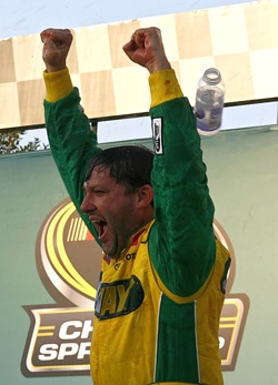 Tony Stewart celebrates his first NASCAR Sprint Cup Series win of the 2008 season on Sunday in Talladega Superspeedway's Victory Lane after winning the AMP Energy 500. Stewart moved up to seventh in the Chase for the NASCAR Sprint Cup standings. (Photo Credit: Jason Smith/Getty Images for NASCAR)