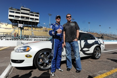 Kurt Busch poses with Arizona Diamondbacks pitcher Brandon Webb before taking him on a pace car ride around Phoenix International Raceway. (Photo Credit: Robert Laberge/Getty Images for NASCAR)