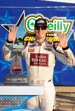 Kyle Busch celebrates a record-tying 10 wins in a season in Texas Motor Speedway's Victory Lane after taking the checkered flag in the O'Reilly Challenge on Saturday. Busch tied the record of Sam Ard, who set the mark in 1983. Go to NASCAR.com/foundation for more information on Ard and to participate in an online auction to raise additional funds for the Sam Ard Fund. (Photo Credit: Rusty Jarrett/Getty Images for NASCAR)
