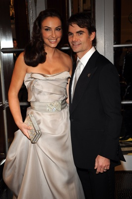 Jeff Gordon, driver of the No. 24 DuPont Chevrolet, and his wife Ingrid Vandebosch (L), hit the yellow carpet at the NASCAR Sprint Cup Series Awards Ceremony at the Waldorf Astoria on Friday in New York City. (Photo Credit: Brad Barket/Getty Images for NASCAR)