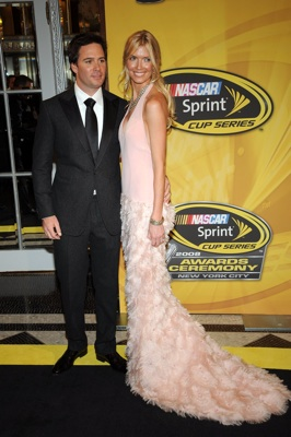 2008 NASCAR Sprint Cup Series Champion Jimmie Johnson with his wife Chandra enter the Waldorf=Astoria for Friday's NASCAR Sprint Cup Series Awards Ceremony in New York City. (Photo Credit: Brad Barket/Getty Images for NASCAR)
