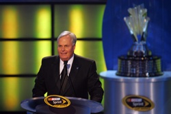 Rick Hendrick, 2008 NASCAR Sprint Cup Champion team owner, speaks to the crowd during the NASCAR Sprint Cup Series Awards Ceremony at the Waldorf=Astoria in New York City. (Photo Credit: Chris Trotman/Getty Images for NASCAR)