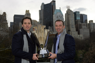 Jimmie Johnson and Chad Knaus pose with the NASCAR Sprint Cup Series trophy in Central Park in front of the New York City skyline. (Photo Credit: Chris Trotman/Getty Images for NASCAR)